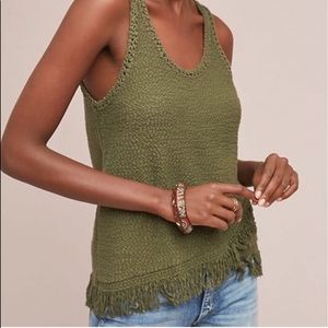 Anthropologie green fringed sweater tank top